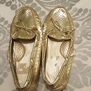 Gold driving shoes